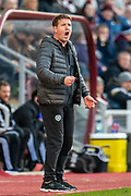 Heart of Midlothian manager Daniel Stendel screams at his players during the Ladbrokes Scottish Premiership match between Heart of Midlothian FC and Aberdeen FC at Tynecastle Stadium, Edinburgh, Scotland on 29 December 2019.