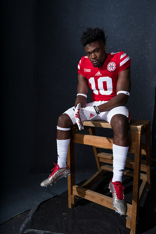 JD Spielman #10 during a portrait session at Memorial Stadium in Lincoln, Neb. on June 7, 2017. Photo by Paul Bellinger, Hail Varsity