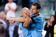 SYDNEY, NSW- NOVEMBER 21: Sydney FC forward Bobo (9) and Sydney FC forward Adrian Mierzejewski (11) celebrate the goal at the FFA Cup Final Soccer between Sydney FC and Adelaide United on November 21, 2017 at Allianz Stadium, Sydney. (Photo by Steven Markham/Icon Sportswire)