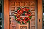 Carved Wooden Door Xmas Wreath