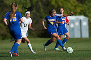 Milton's Carmen Shappy (20) runs down the field with the ball during the girls soccer game between the Milton Yellowjackets and the Rice Green Knights at Rice Memorial High School on Saturday afternoon October 3, 2015 in South Burlington. (BRIAN JENKINS/ for the FREE PRESS)
