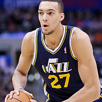 01 February 2014: Utah Jazz center Rudy Gobert (27) looks to pass the ball during the Los Angeles Clippers 102-87 victory over the Utah Jazz at the Staples Center, Los Angeles, California, USA.
