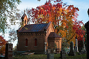 "The colors of fall surround ""the Bishop Krautbauer Chapel"" at Allouez Catholic Cemetery in Allouez, Wis.(Sam Lucero Photo)"