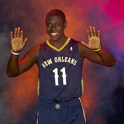 Aug 1, 2013; Metairie, LA, USA; New Orleans Pelicans guard Jrue Holiday (11) during a uniform unveiling at the team practice facility. Mandatory Credit: Derick E. Hingle-USA TODAY Sports