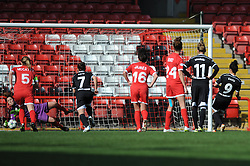 Bristol Academy's Mary Earps saves a penalty from FFC Frankfurt's Celia Sasic - Photo mandatory by-line: Dougie Allward/JMP - Mobile: 07966 386802 - 21/03/2015 - SPORT - Football - Bristol - Ashton Gate Stadium - Bristol Academy v FFC Frankfurt - UEFA Women's Champions League - Quarter Final - First Leg