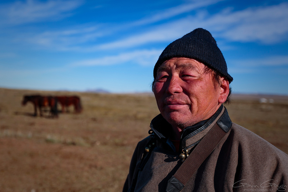 Tsatrl is a policeman but also keeps livestock and still leads a traditional nomadic life.