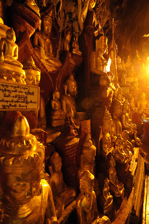 Buddhist caves of Pindaya with its golden Buddhas, Myanmar