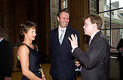 Lord Doune, Alison Jackson and William Cash, Private view of HM Quen Elizabeth 11's hats and Handbags, Kensington Palace. 27 May 2003. © Copyright Photograph by Dafydd Jones 66 Stockwell Park Rd. London SW9 0DA Tel 020 7733 0108 www.dafjones.com
