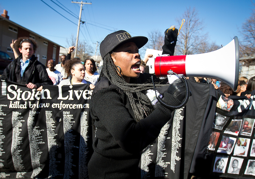 Americas Luvene rallies protestors with chants before marching on the Wisconsin Department of Corrections in Madison, March 11, 2015. Protestors rallied for the fifth day in a row, after the shooting death of Tony Robinson, Jr. by Madison Police inside his home on March 6, 2015. REUTERS/Ben Brewer (UNITED STATES)