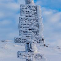 A frozen sign at Ulriken