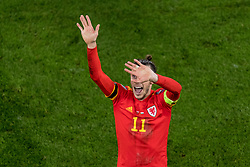 CARDIFF, WALES - Tuesday, November 19, 2019: Wales' captain Gareth Bale celebrates after a 2-0 victory ensures qualification to Euro 2020 after the final UEFA Euro 2020 Qualifying Group E match between Wales and Hungary at the Cardiff City Stadium. (Pic by Paul Greenwood/Propaganda)