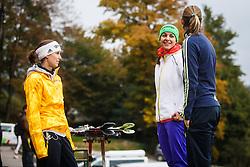 Eva Logar, Maja Vtic and Katja Pozun during national competition in Ski Jumping, 8th of October, 2016, Kranj,  Slovenia. Photo by Grega Valancic / Sportida