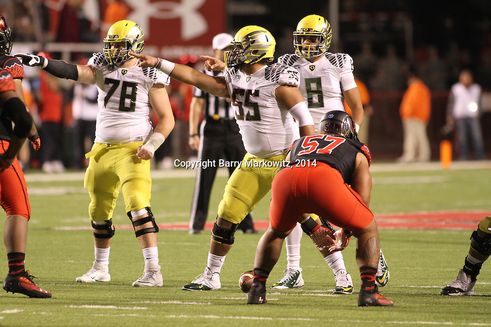 The University of Oregon Ducks defeated the University of Utah Utes 51-27 at Rice-Eccles Stadium, Salt Lake City, Utah. Photo by Barry Markowitz, 11/8/14, 8pm