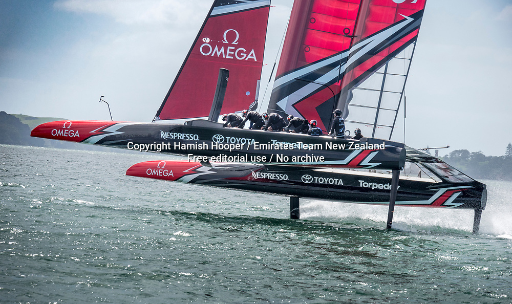 14/2/17- Emirates Team New Zealand sail their America's Cup Class race boat for the first time in Auckland New Zealand<br /> For editorial news use only NO AGENTS<br /> Copyright photo: Emirates Team New Zealand