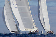 FRANCE, St Tropez. 5th October 2013. Voiles de St Tropez. L-R, Lionheart (H1), Velsheda (K7) and Hanuman (K6).