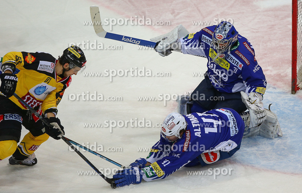 06.01.2015, Albert Schultz Eishalle, Wien, AUT, EBEL, UPC Vienna Capitals vs EC VSV, 36. Runde, im Bild Kristopher Foucault (UPC Vienna Capitals), Mario Altmann (EC VSV) und Thomas Hoeneckl (EC VSV) // during the Erste Bank Icehockey League 36th Round match between UPC Vienna Capitals and EC VSV at the Albert Schultz Ice Arena, Vienna, Austria on 2015/01/06. EXPA Pictures © 2015, PhotoCredit: EXPA/ Thomas Haumer