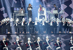 Clean Bandit with Julia Michaels, Anne Marie and Zara Larsson on stage during the MTV Europe Music Awards 2017 held at The SSE Arena, London. Photo credit should read: Doug Peters/EMPICS Entertainment