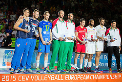 Best Players at trophy ceremony after France won at  volleyball match between National teams of Slovenia and France at Final match of 2015 CEV Volleyball European Championship - Men, on October 18, 2015 in Arena Armeec, Sofia, Bulgaria. Photo by Vid Ponikvar / Sportida