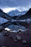 Maroon Bells Reflection in Maroon Lake in Winter, Maroon - Snowmass Wilderness, Colorado