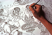 INDONESIA, BALI, ART Art Center, ink drawing of Hindu myth