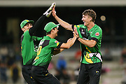 The Stags celebrate a wicket by Blair Tickner during the Burger King Super Smash Twenty20 cricket match Knights v Stags played at Bay Oval, Mount Maunganui, New Zealand on Wednesday 27 December 2017.<br /> <br /> Copyright photo: © Bruce Lim / www.photosport.nz
