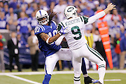 Taj Smith (10) of the Indianapolis Colts is called for a key roughing the kicker penalty against Steve Weatherford (9) of the New York Jets during the AFC Wild Card Playoff game at Lucas Oil Stadium on Jan. 8, 2011 in Indianapolis, IN.
