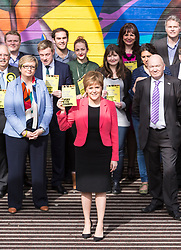 Scottish National Party leader, Nicola Sturgeon, joins Council candidates in Edinburgh to launch the SNP's manifesto for the 2017 Local Government election.<br /> <br /> Pictured: First Minister, Nicola Sturgeon with Council Election candidates