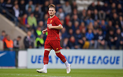 GENK, BELGIUM - Wednesday, October 23, 2019: Liverpool's Harvey Elliott during the UEFA Youth League Group E match between KRC Genk Under-19's and Liverpool FC Under-19's at the KRC Genk Arena Stadium B. (Pic by David Rawcliffe/Propaganda)