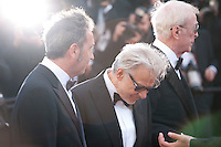 director Paolo Sorrentino, Actors Harvey Keitel amd Michael Caine at the gala screening for the film Youth at the 68th Cannes Film Festival, Wednesday May 20th 2015, Cannes, France.