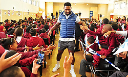 Cape Town-171026 Western Province captain Siyamthanda Kolisi greeting pupils of Belvue Primary in Belhar,when the team players visited and held coaching clinics there this morning.pic Phando Jikelo/ANA