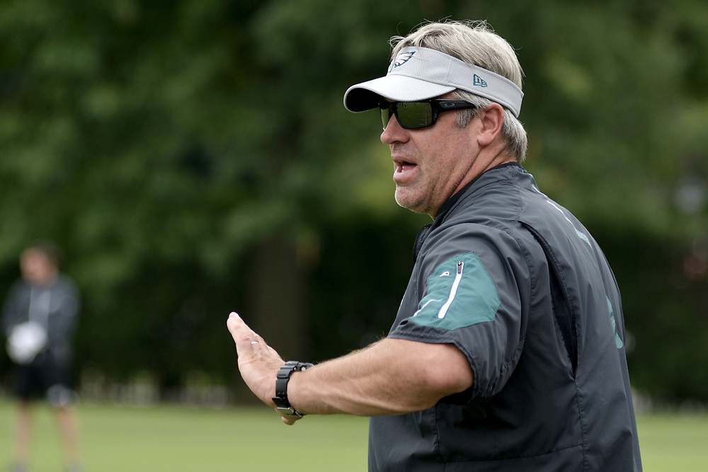 Philadelphia Eagles Head Coach Doug Pedersen and team members attend practice at the NovaCare Complex in South Philadelphia a day after the canceled invite to the Super Bowl Championship celebration at the White House. (Bastiaan Slabbers for WHYY)