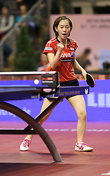 31.01.2016, Max Schmeling Halle, Berlin, GER, German Open 2016, im Bild Kasumi Ishikawa (JPN) ballt die Faust, jubelt // during the table Tennis 2016 German Open at the Max Schmeling Halle in Berlin, Germany on 2016/01/31. EXPA Pictures © 2016, PhotoCredit: EXPA/ Eibner-Pressefoto/ Wuest<br /> <br /> *****ATTENTION - OUT of GER*****