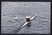 London. United Kingdom.  Joanne GOUGH . 1990 Scullers Head of the River Race. River Thames, viewpoint Chiswick Bridge Saturday 07.04.1990<br /> <br /> [Mandatory Credit; Peter SPURRIER/Intersport Images] 19900407 Scullers Head, London Engl