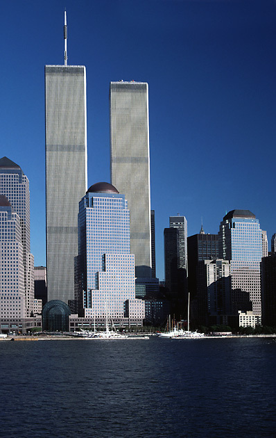 twin towers of World Trade Center from river; financial district; sailboats in marina; Manhattan, New York; NY