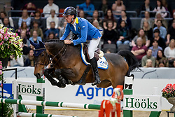 AHLMANN Christian (GER), Ciao Conni ST<br /> Göteborg - Gothenburg Horse Show 2019 <br /> Gothenburg Trophy presented by VOLVO<br /> Int. jumping competition with jump-off (1.55 m)<br /> Longines FEI Jumping World Cup™ Final and FEI Dressage World Cup™ Final<br /> 06. April 2019<br /> © www.sportfotos-lafrentz.de/Stefan Lafrentz
