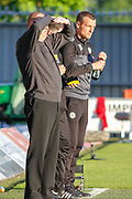 Oran Kearney St Mirren Manager & Hamilton Academicals Head Coach Brian Rice during the Ladbrokes Scottish Premiership match between St Mirren and Hamilton Academical FC at the Paisley 2021 Stadium, St Mirren, Scotland on 13 May 2019.