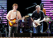 Steve Winwood and Eric Clapton, together again after twenty five years, played nothing short of an incredible set at the Crossroads Guitar Festival at Toyota Park in Bridgeview, Illinois July 28, 2007.   Photo © Peter Switzer 2007