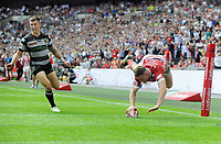 Rugby League - 2017 Challenge Cup Final - Hull FC vs. Wigan Warriors<br /> <br /> Joe Burgess of Wigan dives over for a try , only to be disallowed by the Referee Phil Bentham at Wembley Stadium.<br /> <br /> COLORSPORT/ANDREW COWIE