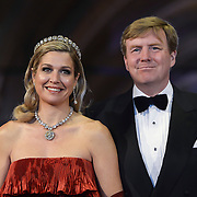 Crown Prince Willem-Alexander, right, and Princess Maxima, left, arrive for a dinner with members of the royal family and guests at the Rijksmuseum in Amsterdam, The Netherlands, on Monday night, April 29, 2013. HANDOUT/ROBIN UTRECHT