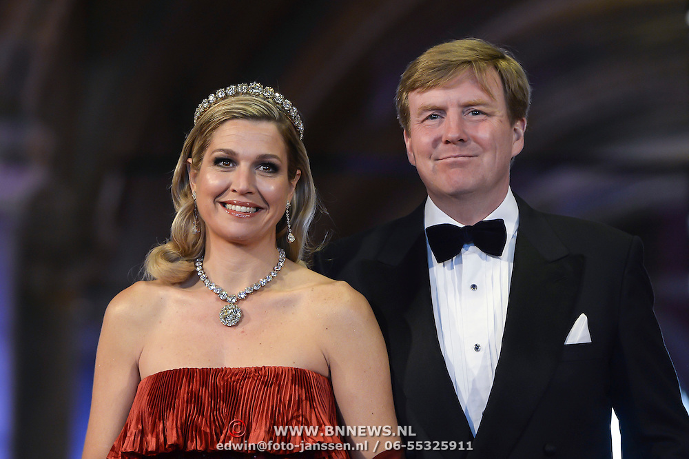Crown Prince Willem-Alexander, right, and Princess Maxima, left, arrive for a dinner with members of the royal family and guests at the Rijksmuseum in Amsterdam, The Netherlands,on Monday night, April 29, 2013. HANDOUT/ROBIN UTRECHT