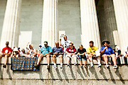 Audience members gather near the Lincoln Memorial during the 'Restoring Honor' event on August 28, 2010 in Washington, DC.