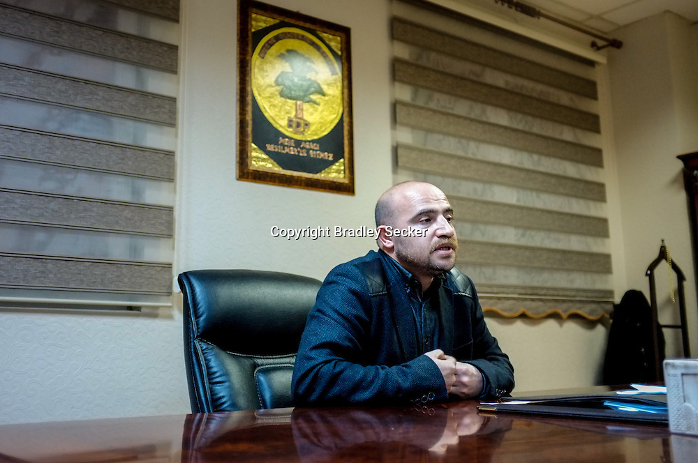 Inan Kizilkiyi, the BDP (Peace and Democracy Party) regional representative for Diyarbakir, in his office at the party HQ in Diyarbakir.