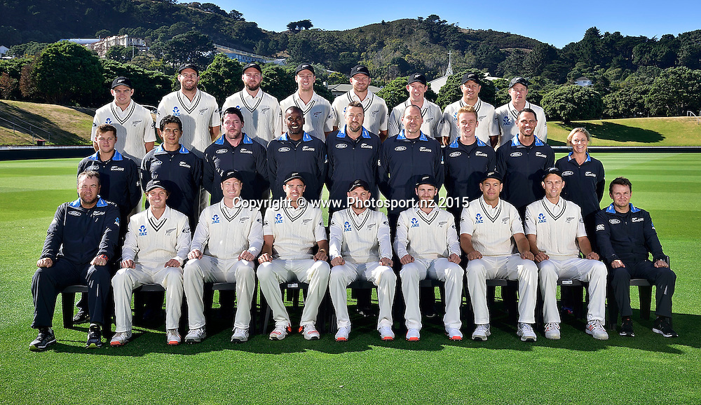 The New Zealand Blackcaps test team & staff photo at the Basin Reserve in Wellington on Thursday the 11 February 2016. Copyright Photo by Marty Melville / www.Photosport.nz