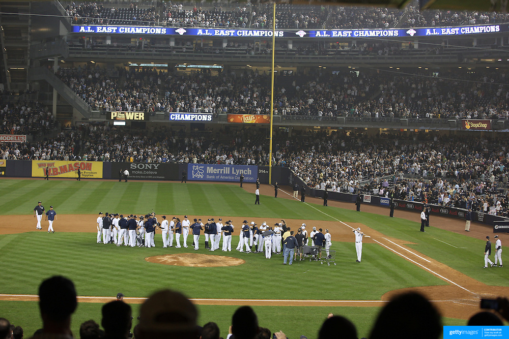 The New York Yankees celebrate after the New York Yankees V Boston Red Sox Baseball game which the New York Yankees won 14-2 to become American League East champions at Yankee Stadium, The Bronx, New York. 4th October 2012. Photo Tim Clayton