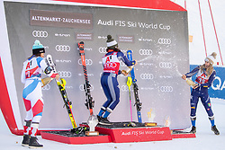 12.01.2020, Keelberloch Rennstrecke, Altenmark, AUT, FIS Weltcup Ski Alpin, Alpine Kombination, Damen, Siegerehrung, im Bild v.l. Wendy Holdener (SUI, 2. Platz), Federica Brignone (ITA, 1. Platz), Marta Bassino (ITA, 3. Platz) // f.l. second placed Wendy Holdener of Switzerland race winner Federica Brignone of Italy third placed Marta Bassino of Italy during the winner ceremony of women's Alpine combined for the FIS ski alpine world cup at the Keelberloch Rennstrecke in Altenmark, Austria on 2020/01/12. EXPA Pictures © 2020, PhotoCredit: EXPA/ Johann Groder