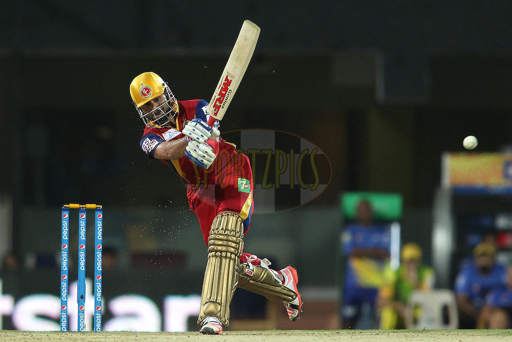 Royal Challengers Bangalore captain Virat Kohli plays a delivery through the leg side during match 37 of the Pepsi IPL 2015 (Indian Premier League) between The Chennai Superkings and The Royal Challengers Bangalore held at the M. A. Chidambaram Stadium, Chennai Stadium in Chennai, India on the 4th May April 2015.<br /> <br /> Photo by:  Shaun Roy / SPORTZPICS / IPL