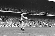Dublin goalie jumps and saves the ball during the All Ireland Senior Gaelic Football Championship Final Kerry v Dublin at Croke Park on the 22nd September 1985. Kerry 2-12 Dublin 2-08.