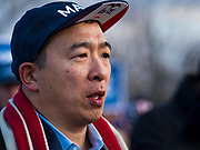 10 DECEMBER 2019 - DES MOINES, IOWA: ANDREW YANG speaks in front of his bus parked at the Iowa State Capitol during a rally before the start of his bus tour. Yang, an entrepreneur, is running for the Democratic nomination for the US Presidency in 2020. He kicked off a five day bus tour today at the Iowa State Capitol in Des Moines. Iowa hosts the the first election event of the presidential election cycle. The Iowa Caucuses will be on Feb. 3, 2020.        PHOTO BY JACK KURTZ