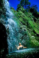 Puahokamoa Falls, off the Hana Highway, Maui, Hawaii USA