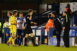 Bristol Rovers manager Darrell Clarke complains to the referee - Mandatory by-line: Matt McNulty/JMP - 14/03/2017 - FOOTBALL - Gigg Lane - Bury, England - Bury v Bristol Rovers - Sky Bet League One
